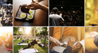 Photos of mindfulness events and activities from event