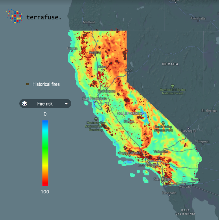 2020 California Fire Map Map of California fire risk   Fung Institute for Engineering